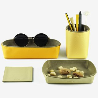 Desk Organization - Pencil Holder, Storage Box, Tray, Coaster, Yellow