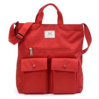 LaPoche Secrete: Boy-friendly Wenqing Package _ Sunshine Red Waterproof Dual-use Canvas Bag _ Can carry shoulder A4