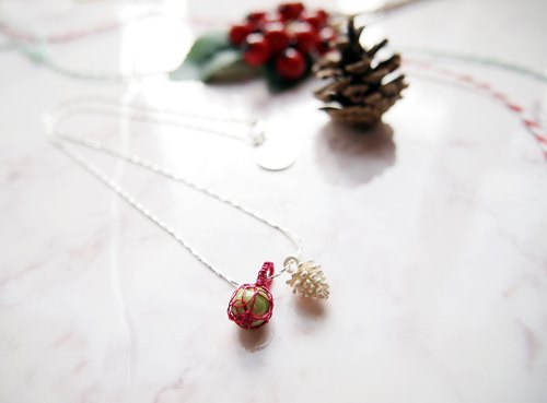 French hand-woven red copper ball with green and white gold pearl pearl necklace