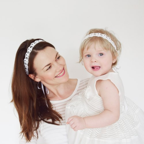 White Mommy and Me Headbands, Mother Daughter Headband Set of 2, Linen Lace Crochet Headbands for Mommy and Baby Girl - Headband Set for Mothers and Daughters