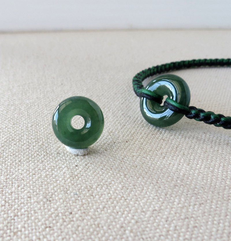The birth year [Peace ‧ wish] safe buckle emerald silk wax bracelet*PBG7*eight shares * lucky