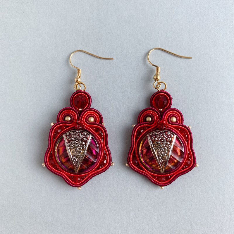 Soutache earrings Plum