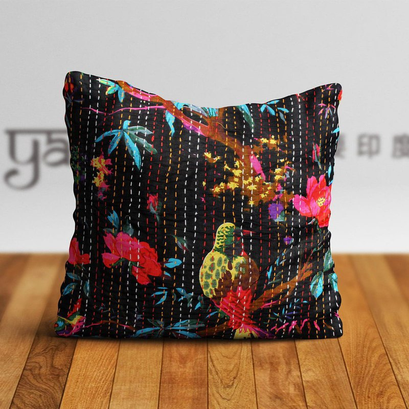 Indian Hand-stitched Cotton Cushion Cover-Flowers and Birds on Black