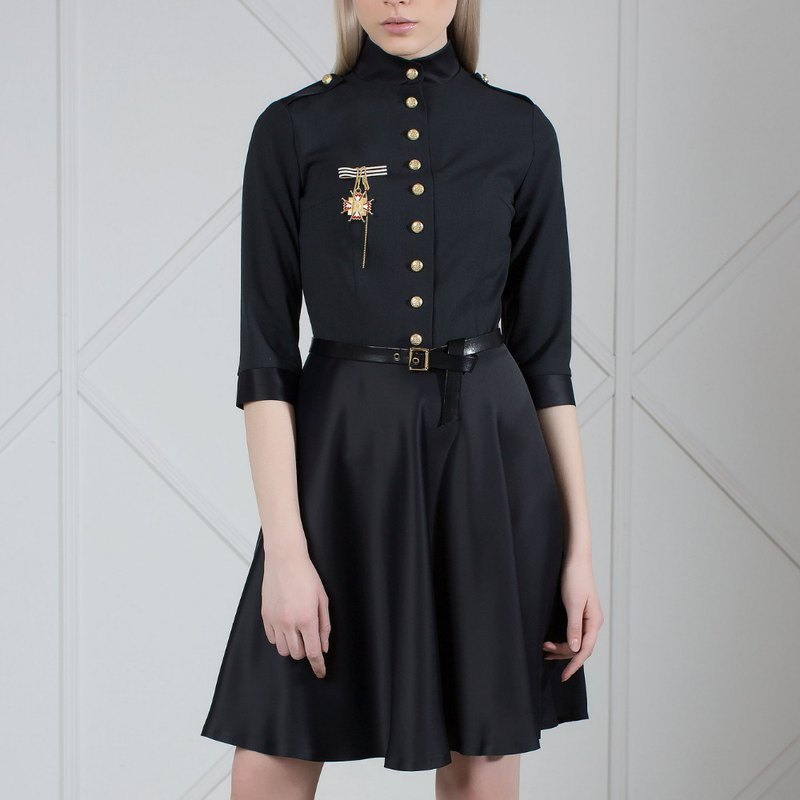 Black Wool And Satin Military Dress With Medal Brooch