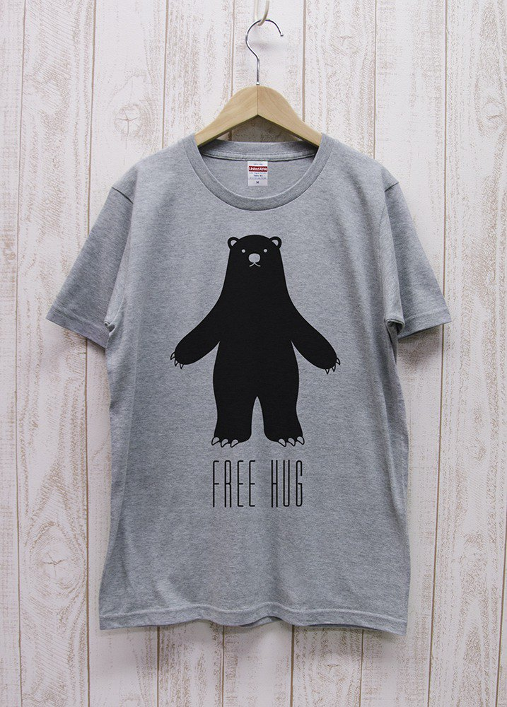 FREE HUG Black Bear Heather Gray / R014-T-GR