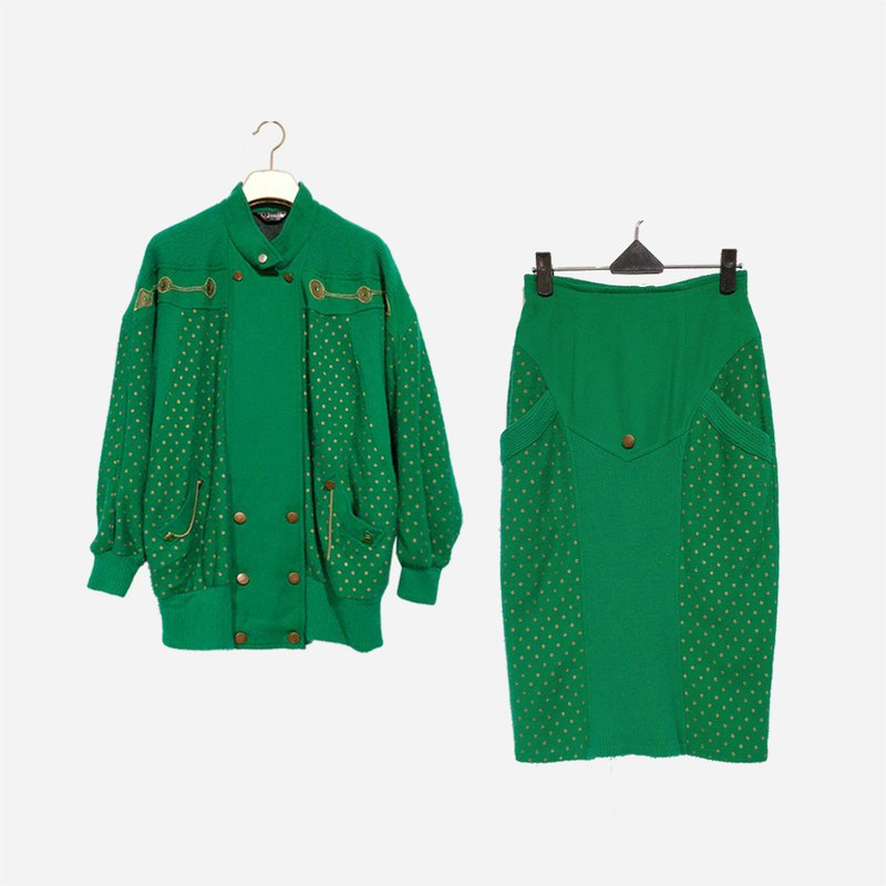 脫臼古著 / 兩件式針織刺繡套裝 no.1265 vintage