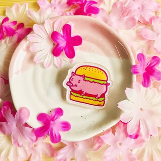 Acrylic brooch - eating pigs