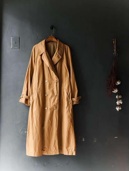 River water - Nagano pumpkin khaki luster love hand ﹑ antique trench coat coat trench_coat dustcoat jacket coat oversize vintage
