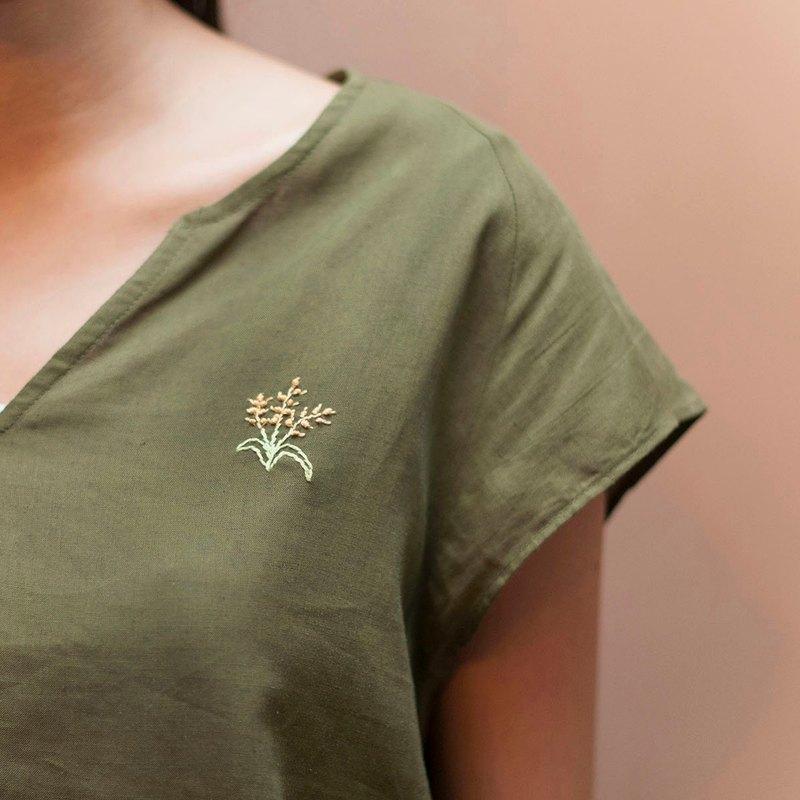 棉麻墨綠上衣-稻穗刺繡