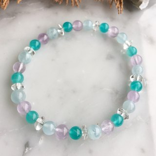 Multi-color gemstone bracelet (sea sapphire, purple jade crystal, Tianhe stone, white crystal)