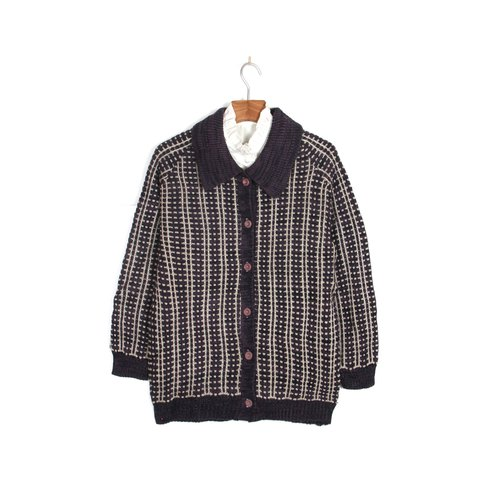 [Vintage] egg plant Vintage Nordic woven cardigan knit sweater