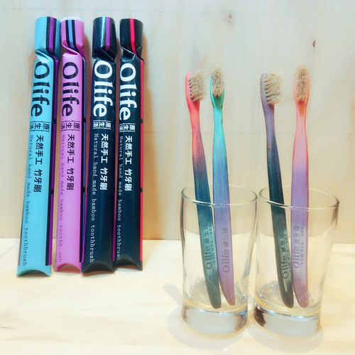 Olife original natural handmade bamboo toothbrush [dream color 4 sticks moderate soft white horse hair]