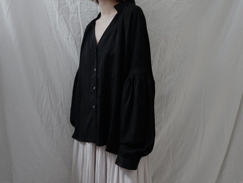 Silk linen shirt silk linen loose pleated shirt