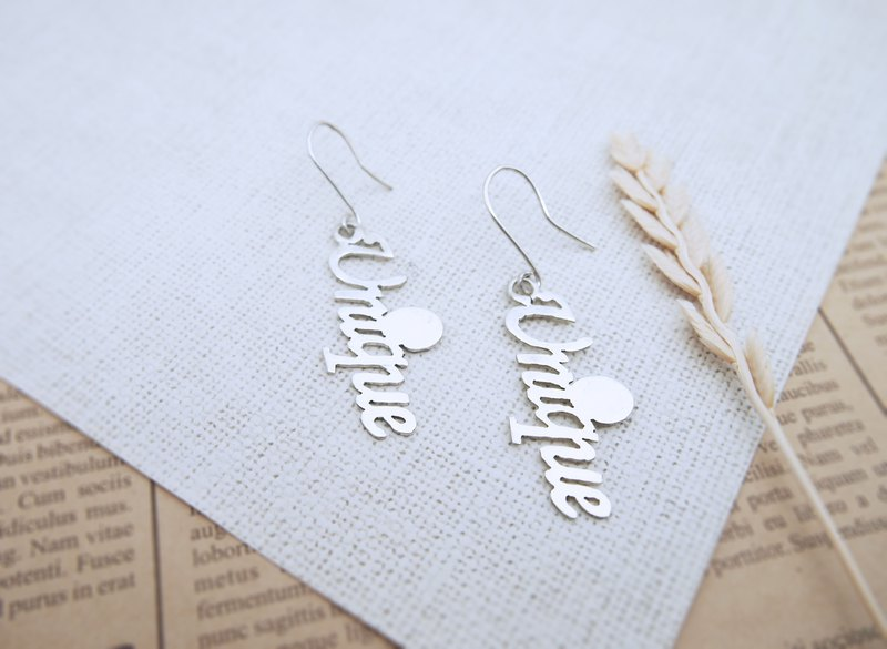 Unique sterling silver text earrings (style 2)