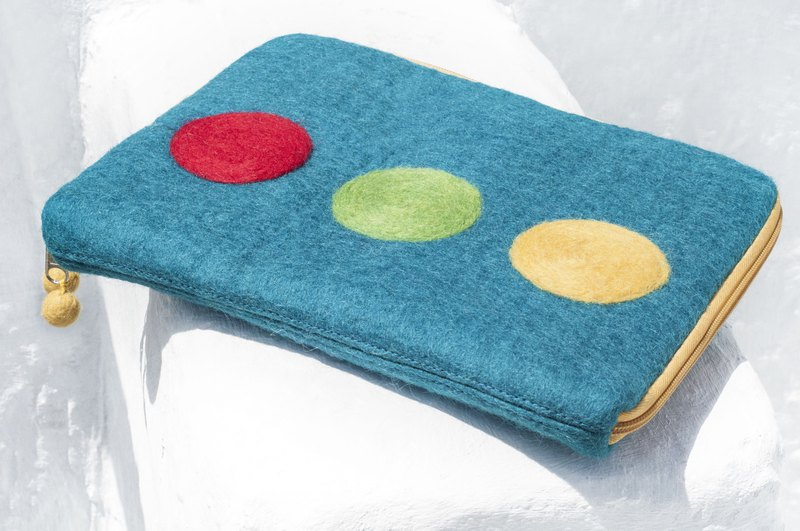 Nordic handmade wool felt bag / wool felt i-pad cover / ipad set / tablet ipad set - round