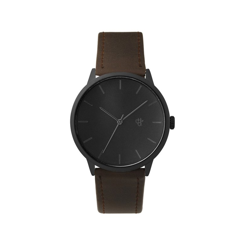 Chpo Brand Swedish Brand - Khorshid Collection Black Dial Dark Brown Leather Watch