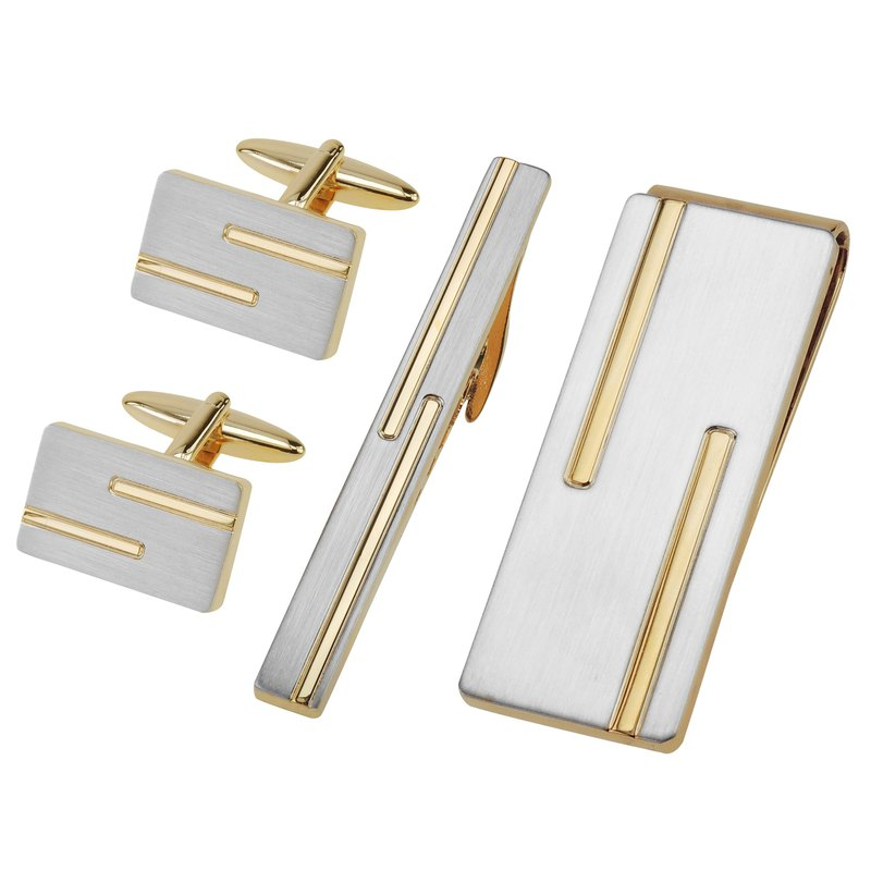 Brushed Silver with Gold Lines Cufflinks Tie Clip and Money Clip Set