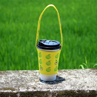 Beverage cup bag - green apple