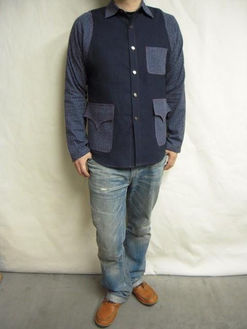 Polka dot quilted coat × plain shirt jacket