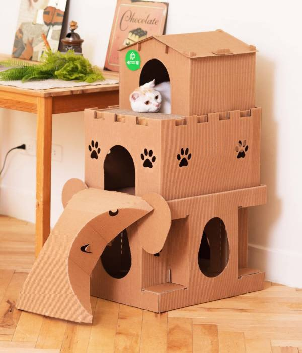 Meow meow Moving Castle [House] cat house three ultra-luxury - a combination of super-satisfied cat house Scratching jumping toy combination