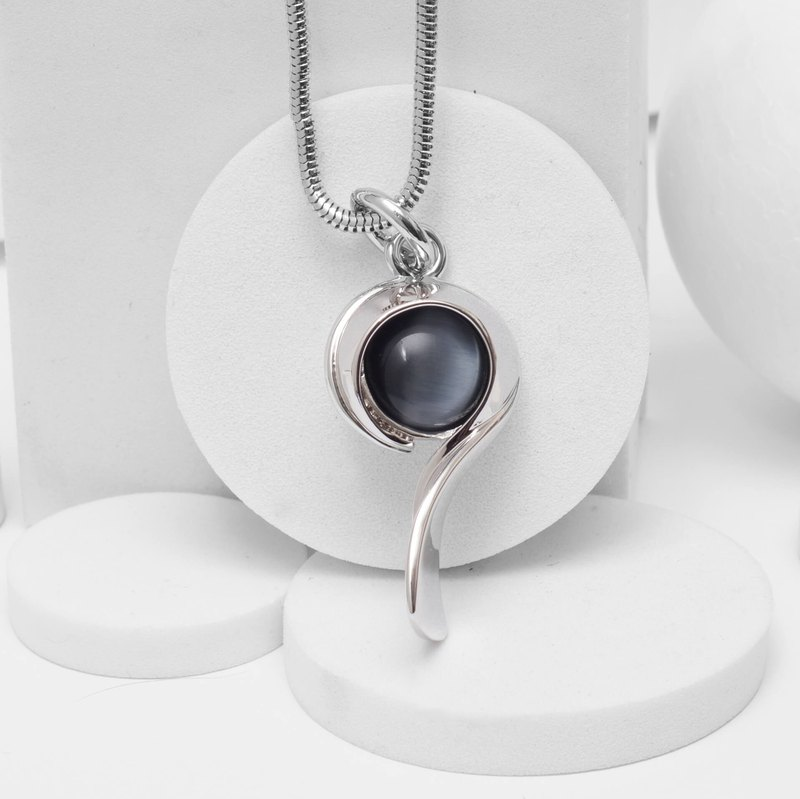 Opal Question Mark Necklace Cat Eye Necklace - Grey Black