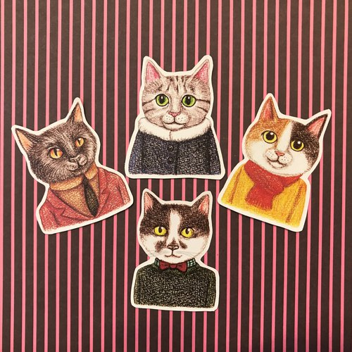 Color pencils Hand-drawn fashion cat waterproof sticker set 4 into