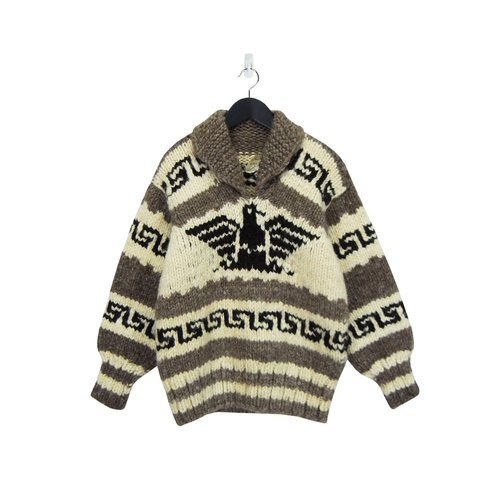 A‧PRANK: DOLLY :: retro with VINTAGE lapel Thunderbird Kaizu pattern wool sweater (T712091)