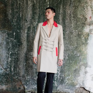 Overlapping buckled feeling long coat (182J04)