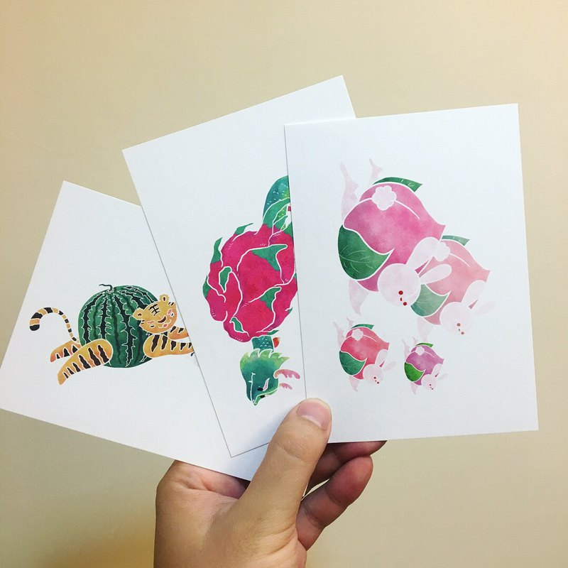 Fruit animal postcard [optional three-in-one discount]