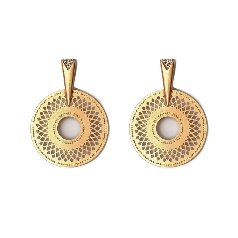 Statement Aura Earrings - Worn gold and stone