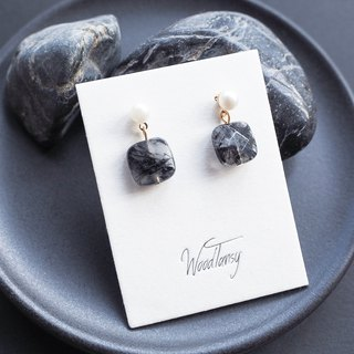 Black Rutilated Quartz square shape Earring