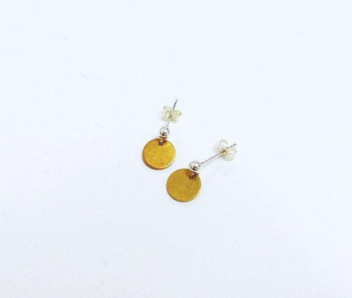 Minimalist pure brass small round 925 sterling silver earrings retro nostalgic allergy non-allergic fade ear clip