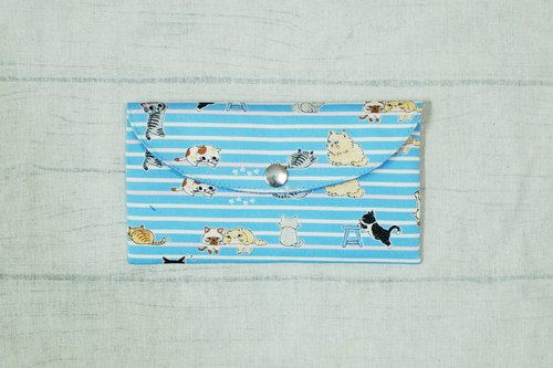 Play cloth hand made. Cute cat (blue) red envelopes bankbook storage bag