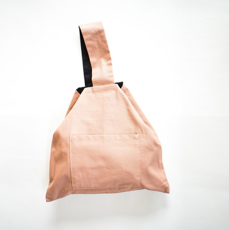Triangle tote bag / Inside out peach & black / canvas bag / Cute gift ^^