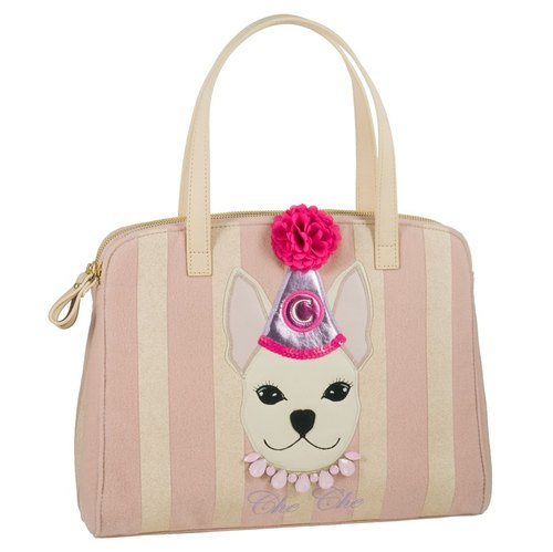 Cheery Dog Appliqué Double-Zip Wool Tote Bag
