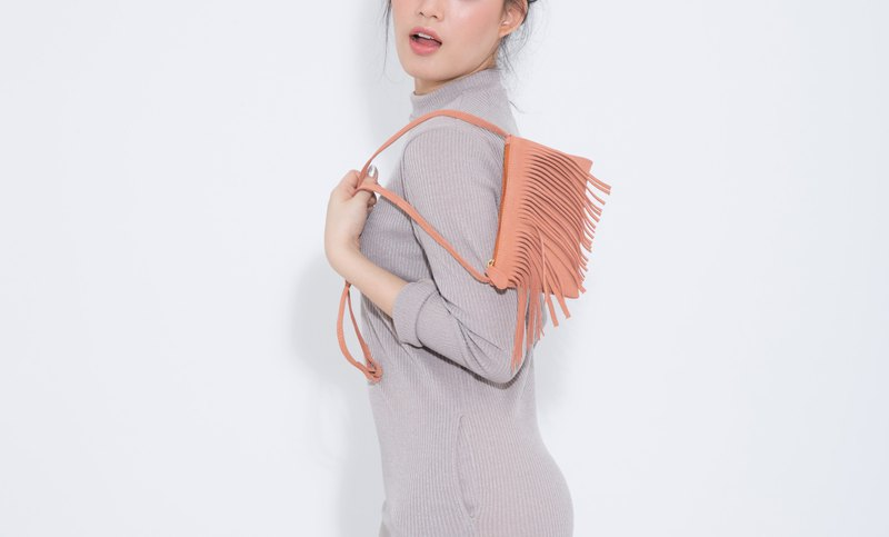 Mini fringe Peach: Leather cross-body bag ( Peach)