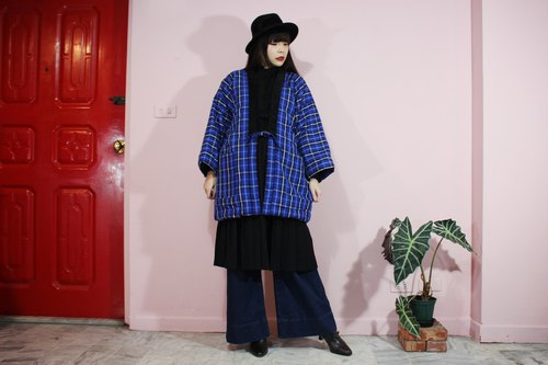 [Japanese kimono] (Vintage) Japan brought back the blue plaid double pocket shop kimono (wa ん て san)