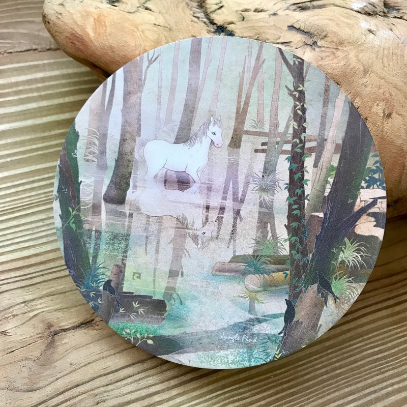 Ceramic Water Cup Coaster - White Horse - Forgetting Forest