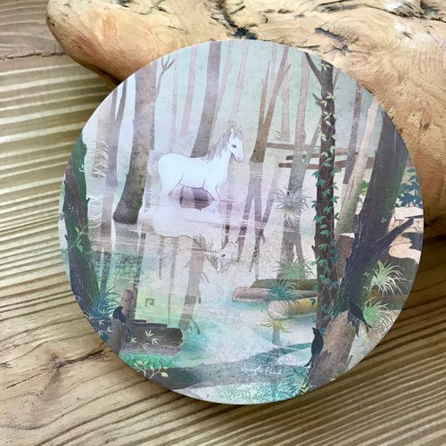 Jungle Find jungle to find / meticulous illustrator / ceramic water coaster - Whitehorse - lotus forest