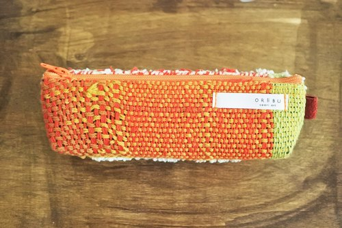 Glasses case orange × white