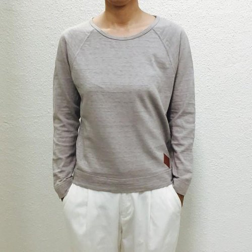 Trofil Tenjika with leather patch Raglan sleeve cut & saw [S size] gray