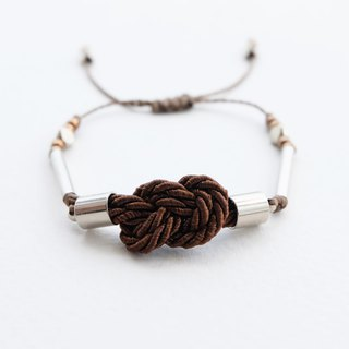 Infinity knot twisted rope in chocolate brown adjustable bracelet
