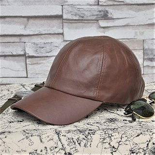 Leather Baseball Cap Oil Wax Cow Leather Layer Leather Hat Brown/Camel Old Hat