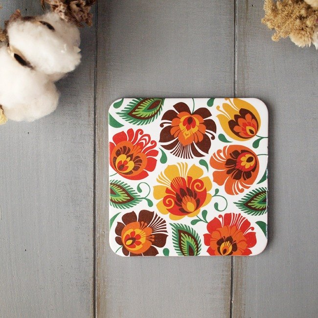 Folkstar Poland totem traditional white orange blossom coasters single