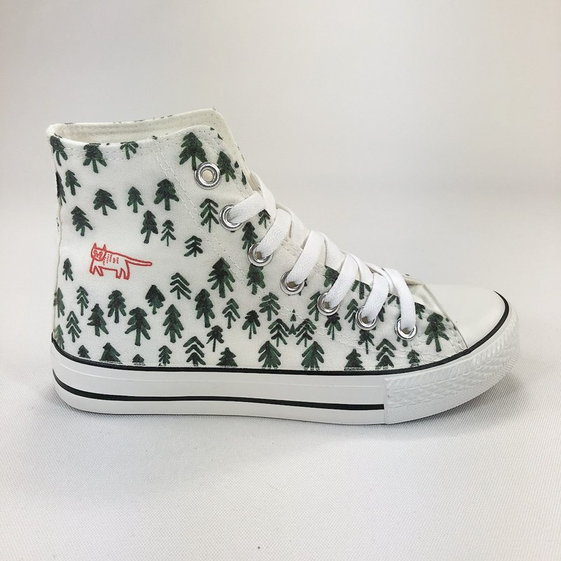 Childlike, Designer Collection - A Cat in the Forest - Xue Huiying - Canvas Shoes (White Shoes Leucorrhea) -AE04