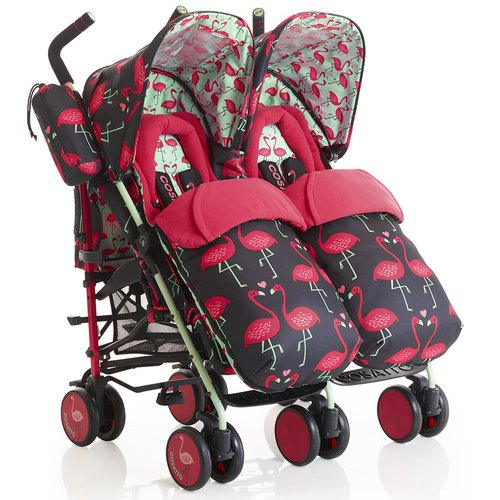 British Cosatto Supa Dupa double baby carriage - Flamingo Flings