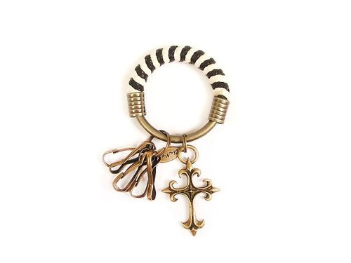 [Na UNA- excellent hand-made] key ring (small) 5.3CM Black + White + cross - hand-woven wax models totem rope hoop customization