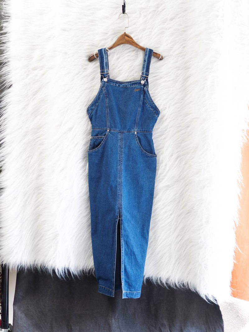 Guess classic blue simple elegant girl antique one-piece tannins long skirt overalls dress
