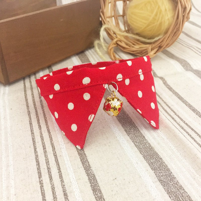 Red dot pet collar scarf collar small dog