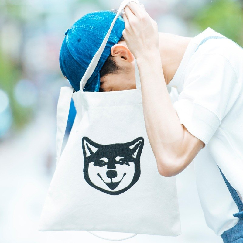 Black Shiba Inu double-sided hand-printed Tote bag portable shoulder dual-use